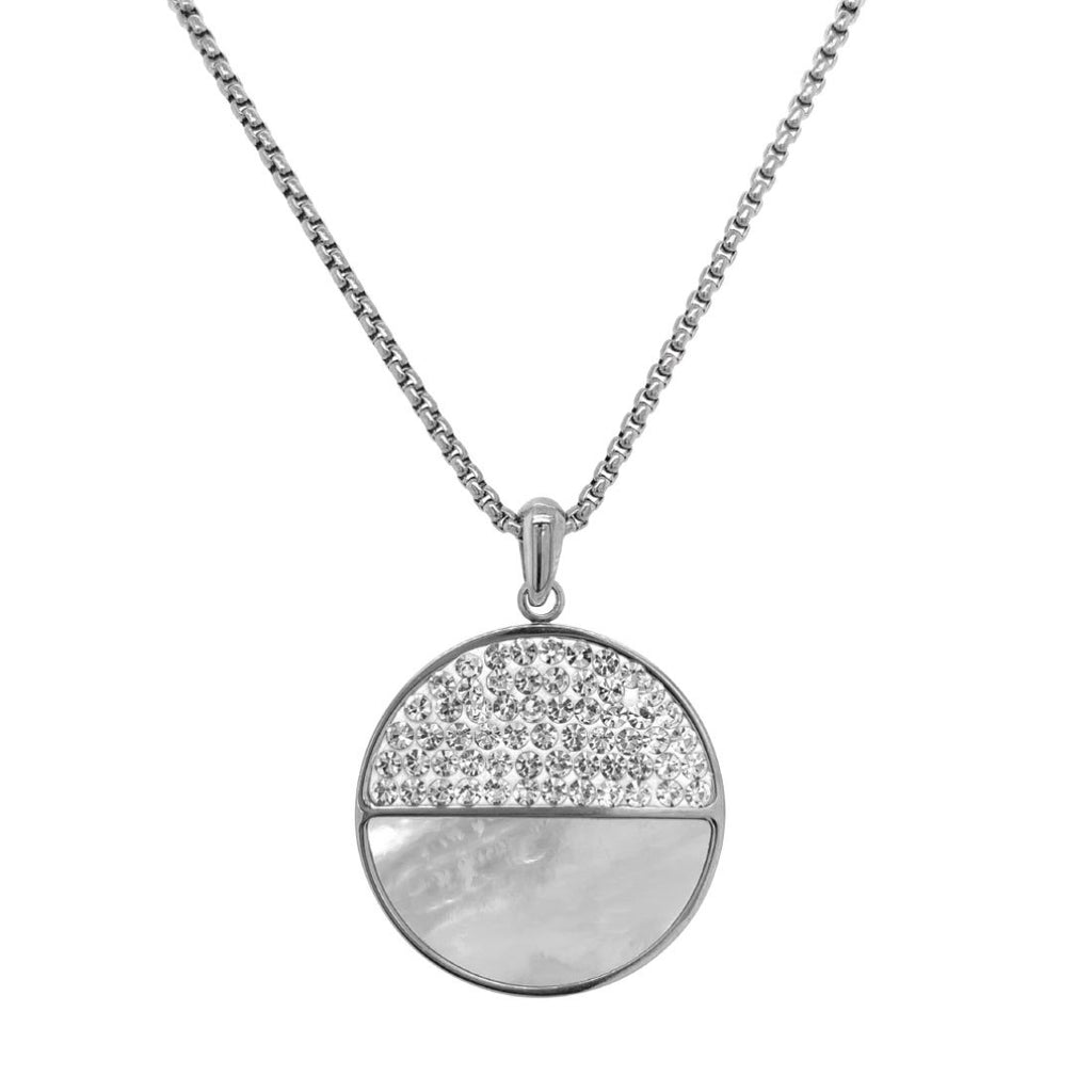 Stainless Steel Crystal Pave & Shell Necklace