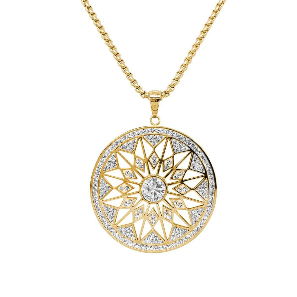 Yellow Pave Crystal Star Necklace in Stainless Steel Necklaces Bevilles