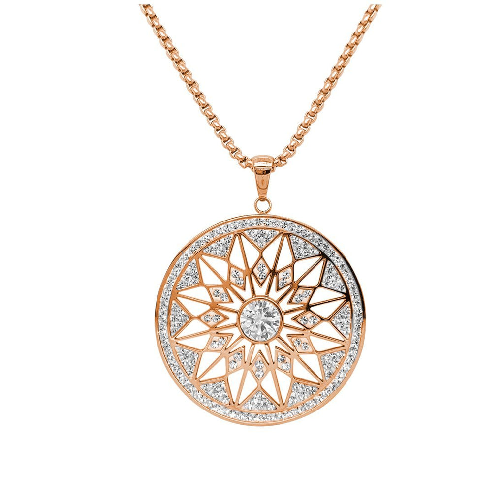 Rose Pave Crystal Star Necklace in Stainless Steel