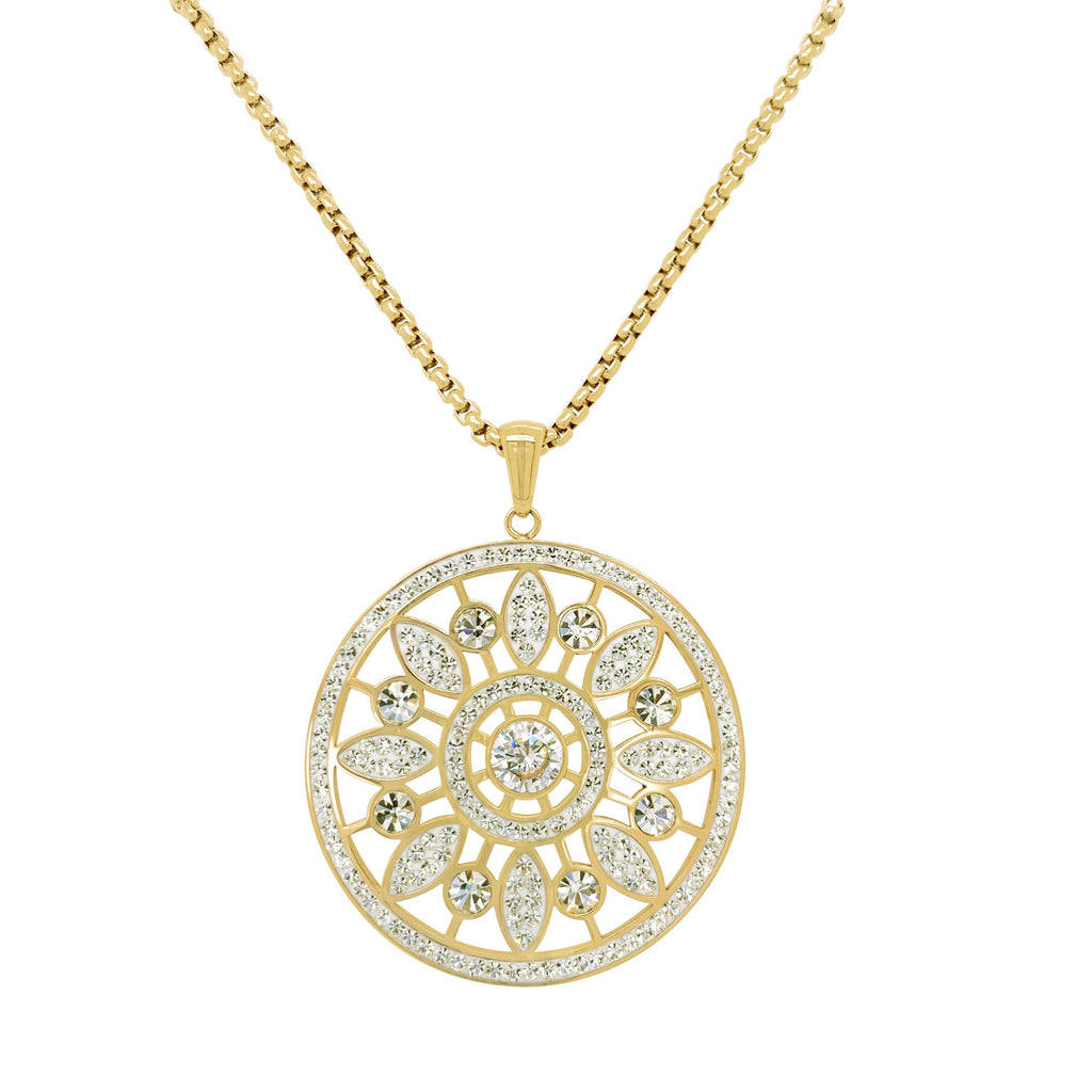 Gold Stainless Steel Pave Crystal Flower Necklace