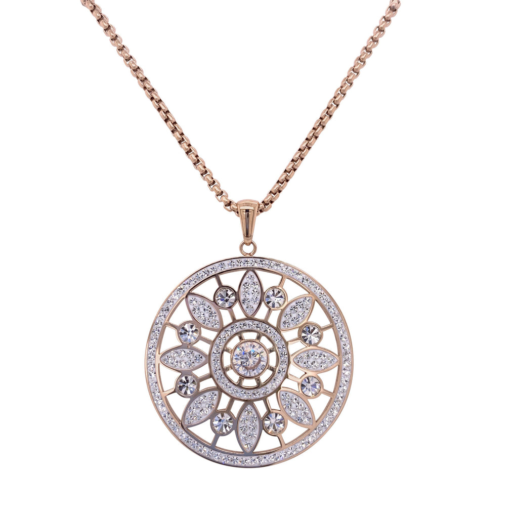 Rose Stainless Steel Flower Disc Necklace