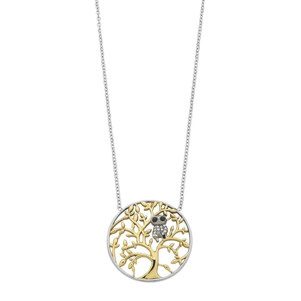 Tree of Life with Crystal Owl Necklace in Stainless Steel