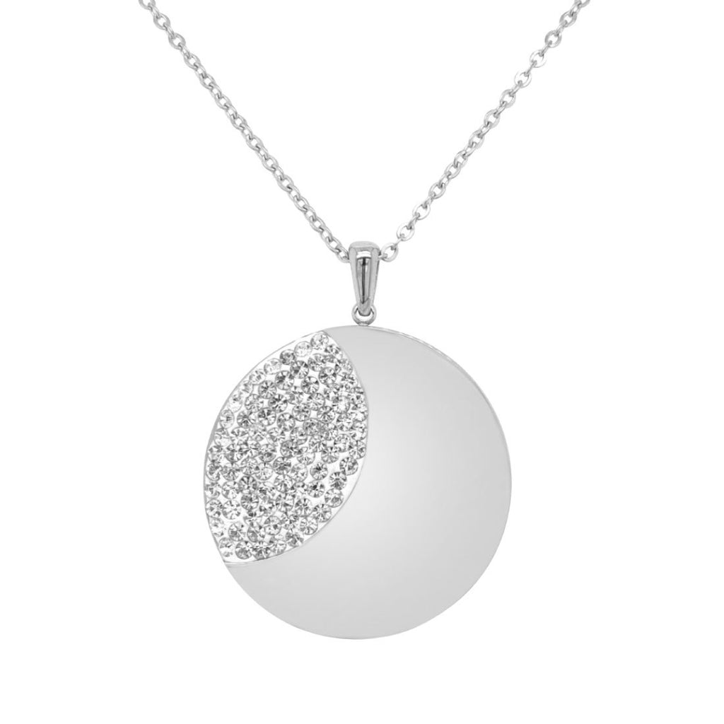 Stainless Steel Plain Crystal Disc Necklace