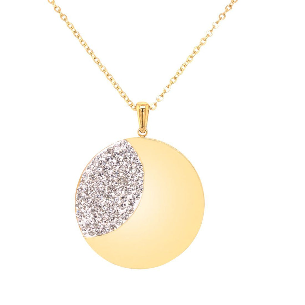 Yellow Stainless Steel Plain Crystal Disc Necklace