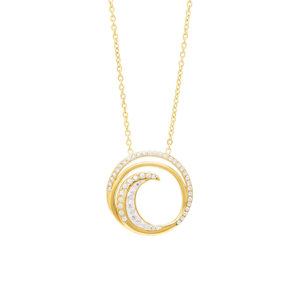 Swirl Necklace 50cm in Yellow Stainless Steel Crystal Necklaces Bevilles