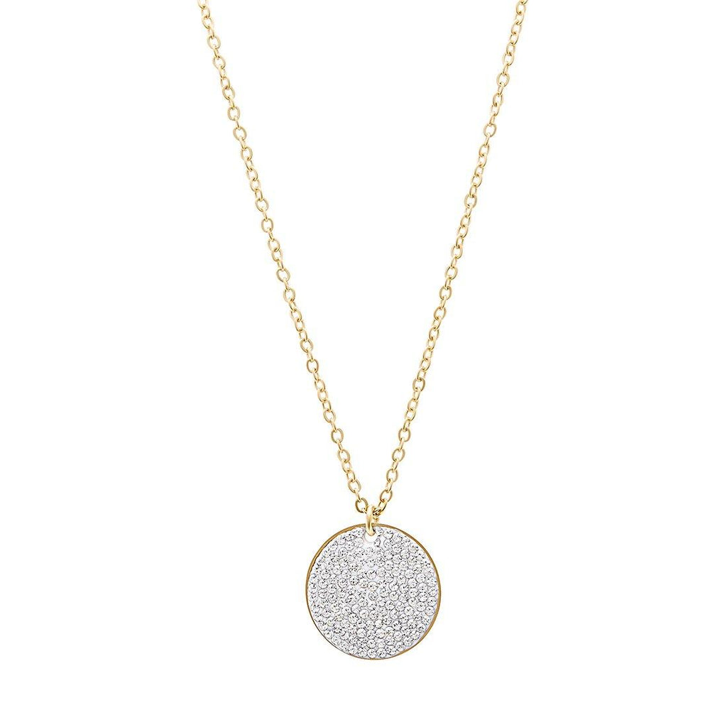 Yellow Stainless Steel Pave Crystal Disc Necklace 40cm Necklaces Bevilles