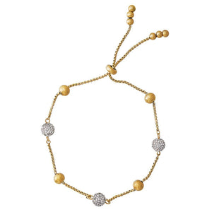 Crystal Station Bracelet in Yellow Stainless Steel