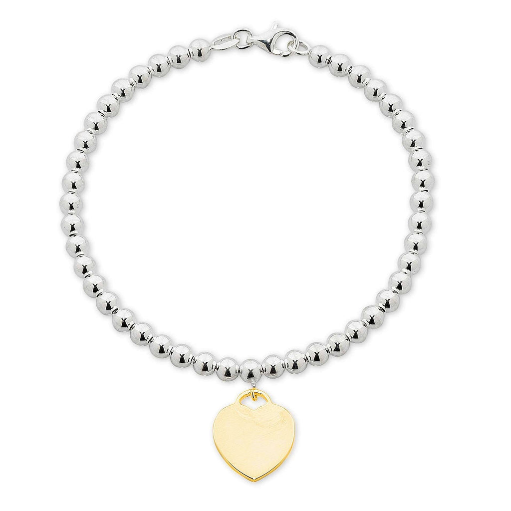 Stainless Steel White Ball Yellow Heart Disc Bracelet Bracelets Bevilles