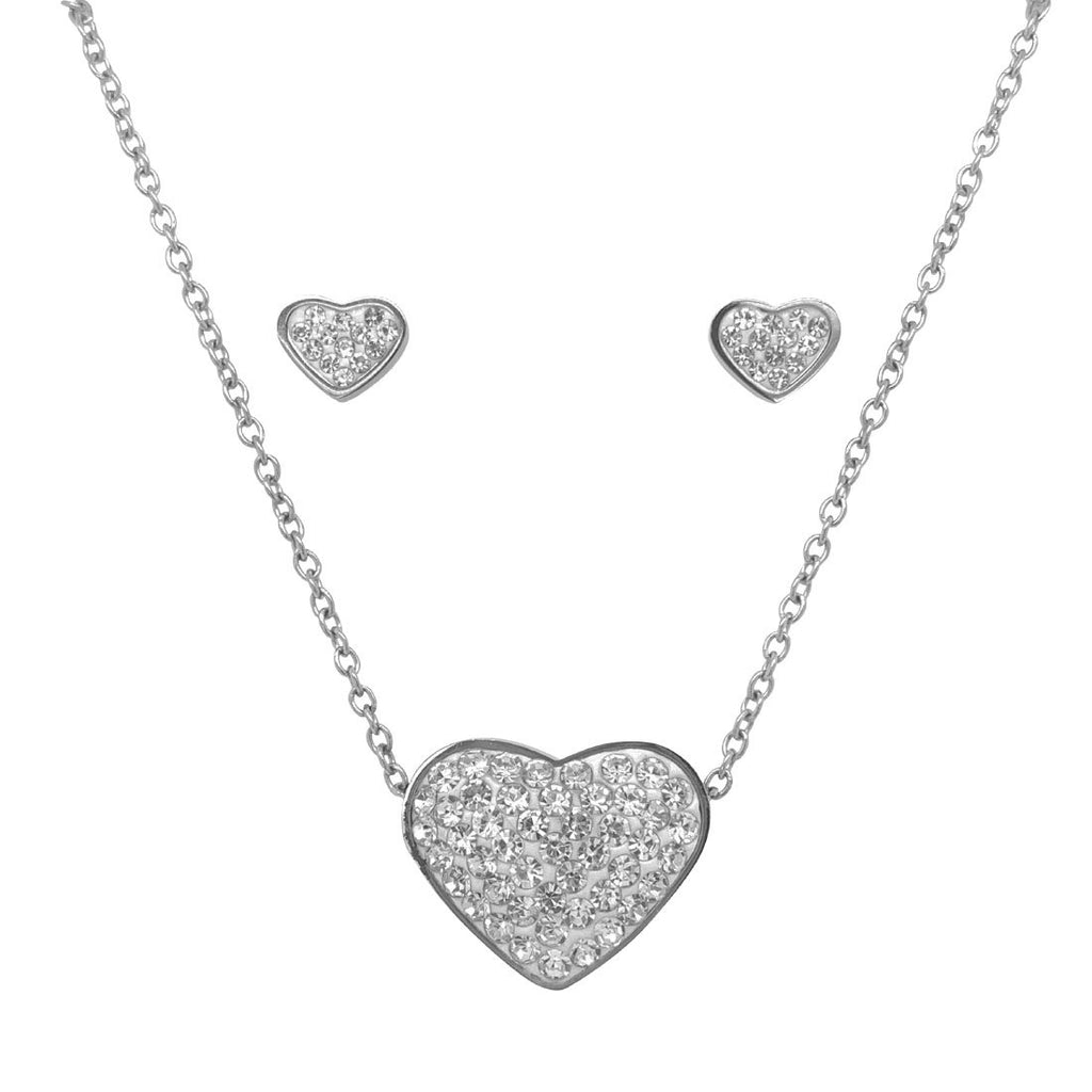 Stainless Steel Crystal Heart Necklace & Earrings Set