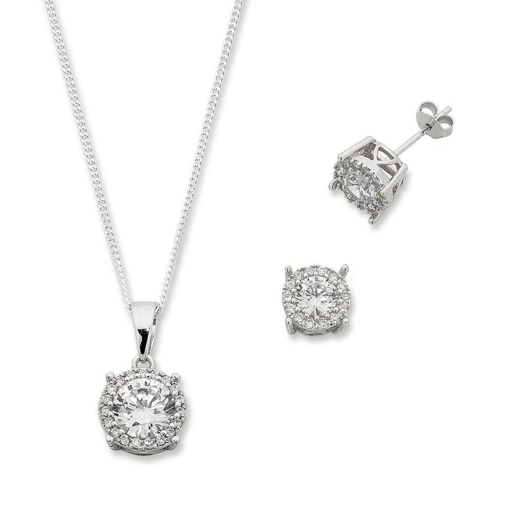 Sterling Silver Cubic Zirconia Necklace & Earring Set Earrings Bevilles