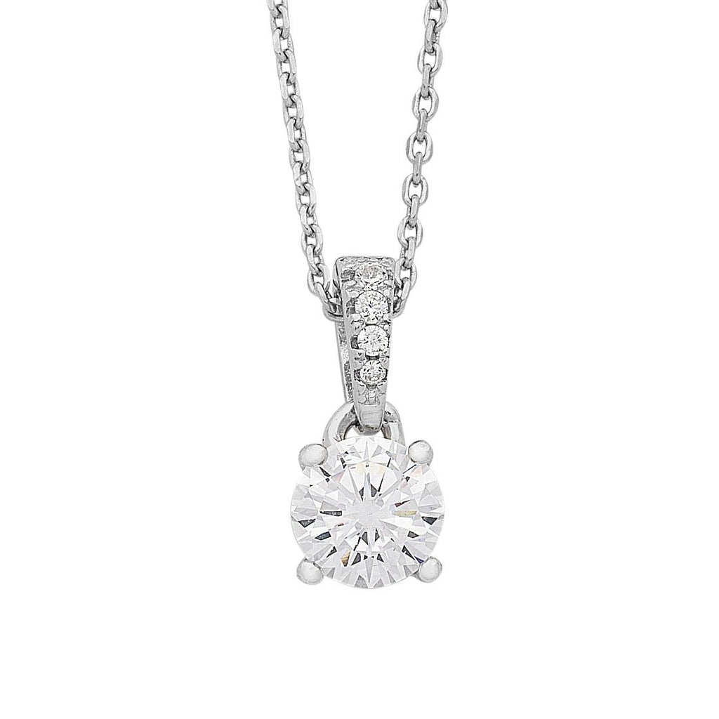 Sterling Silver Cubic Zirconia Solitaire Necklace Necklaces Bevilles