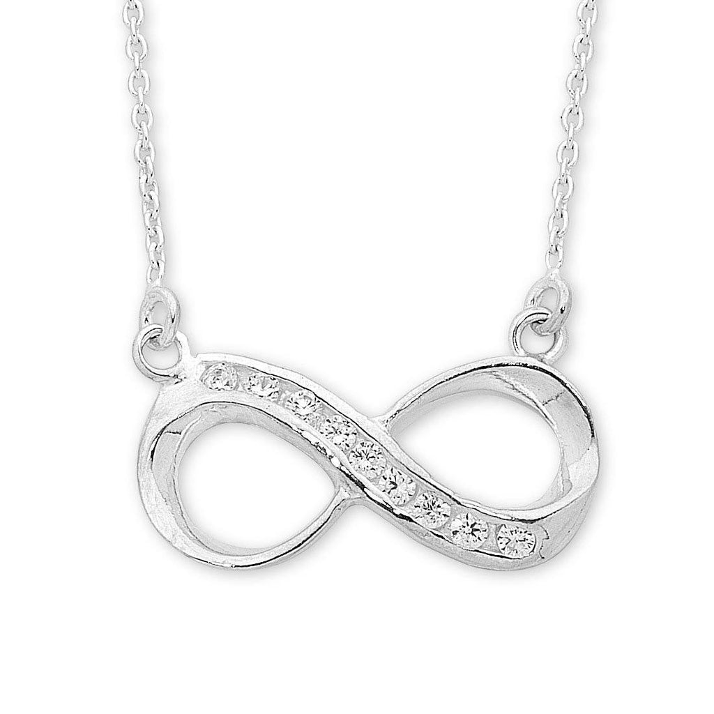 Sterling Silver Cubic Zirconia Infinity Necklace Necklaces Bevilles