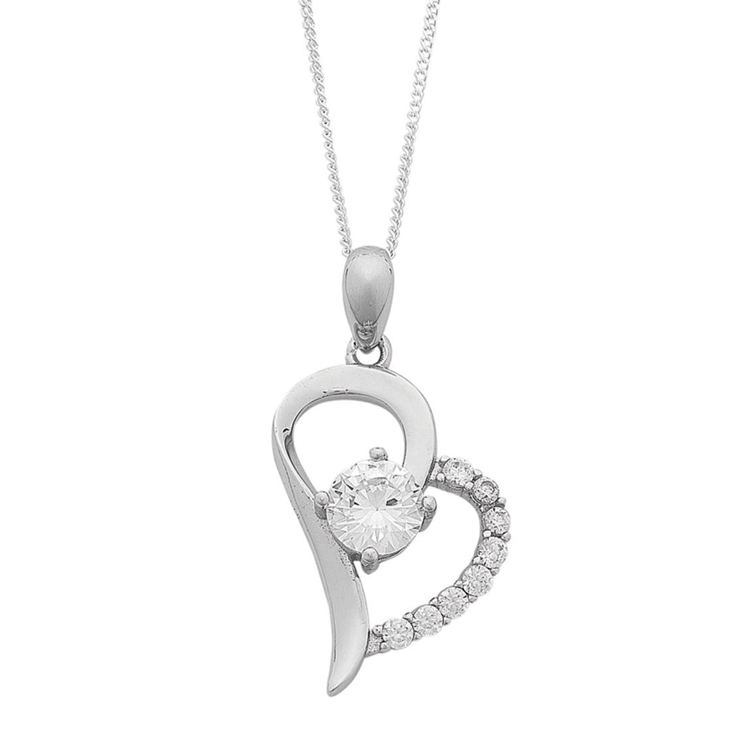 Cubic Zirconia Heart Necklace in Sterling Silver