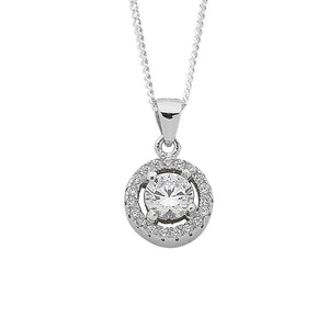 Sterling Silver White Cubic Zirconia Pendant Curb Necklace