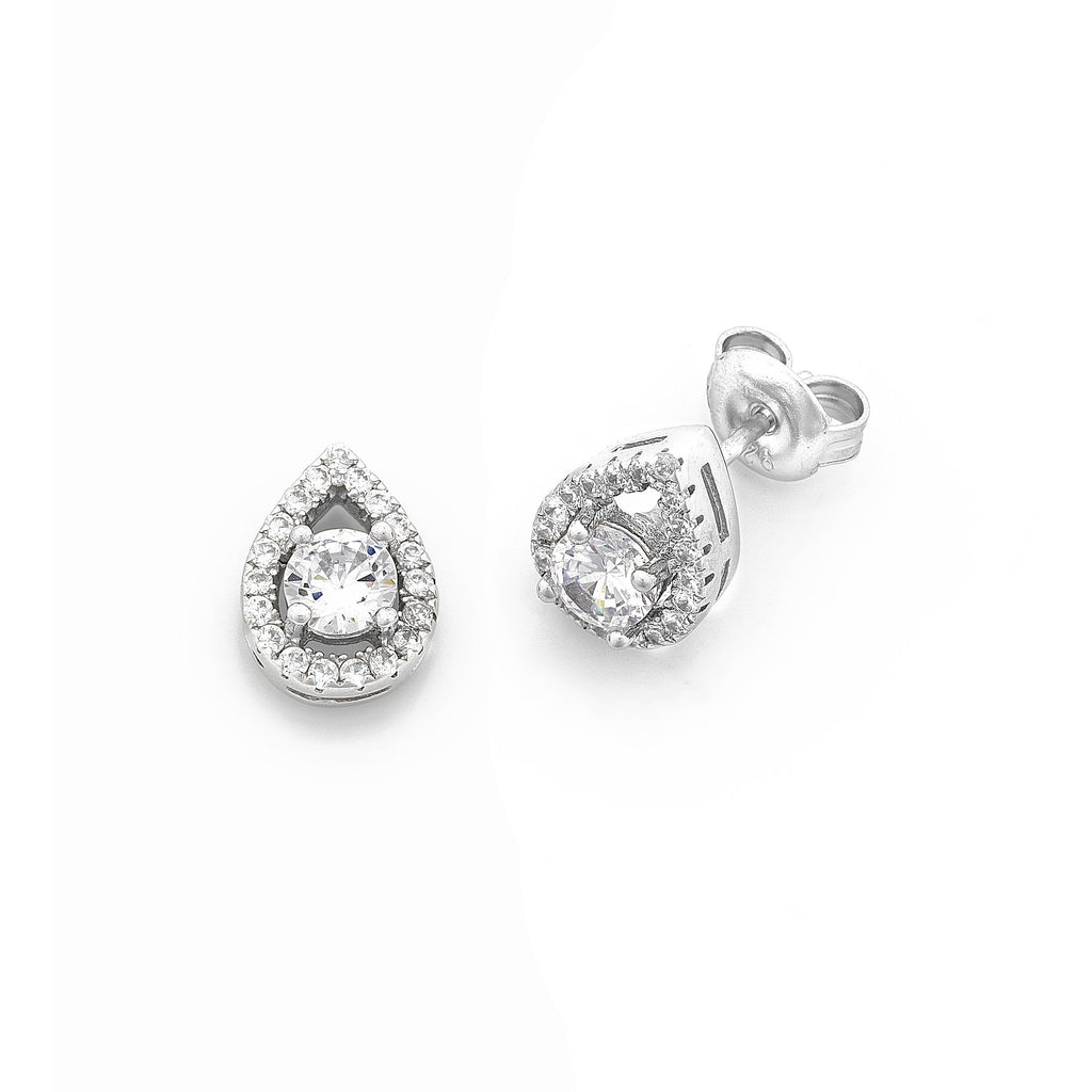 Pear Shape Halo Cubic Zirconia Earrings Earrings Bevilles