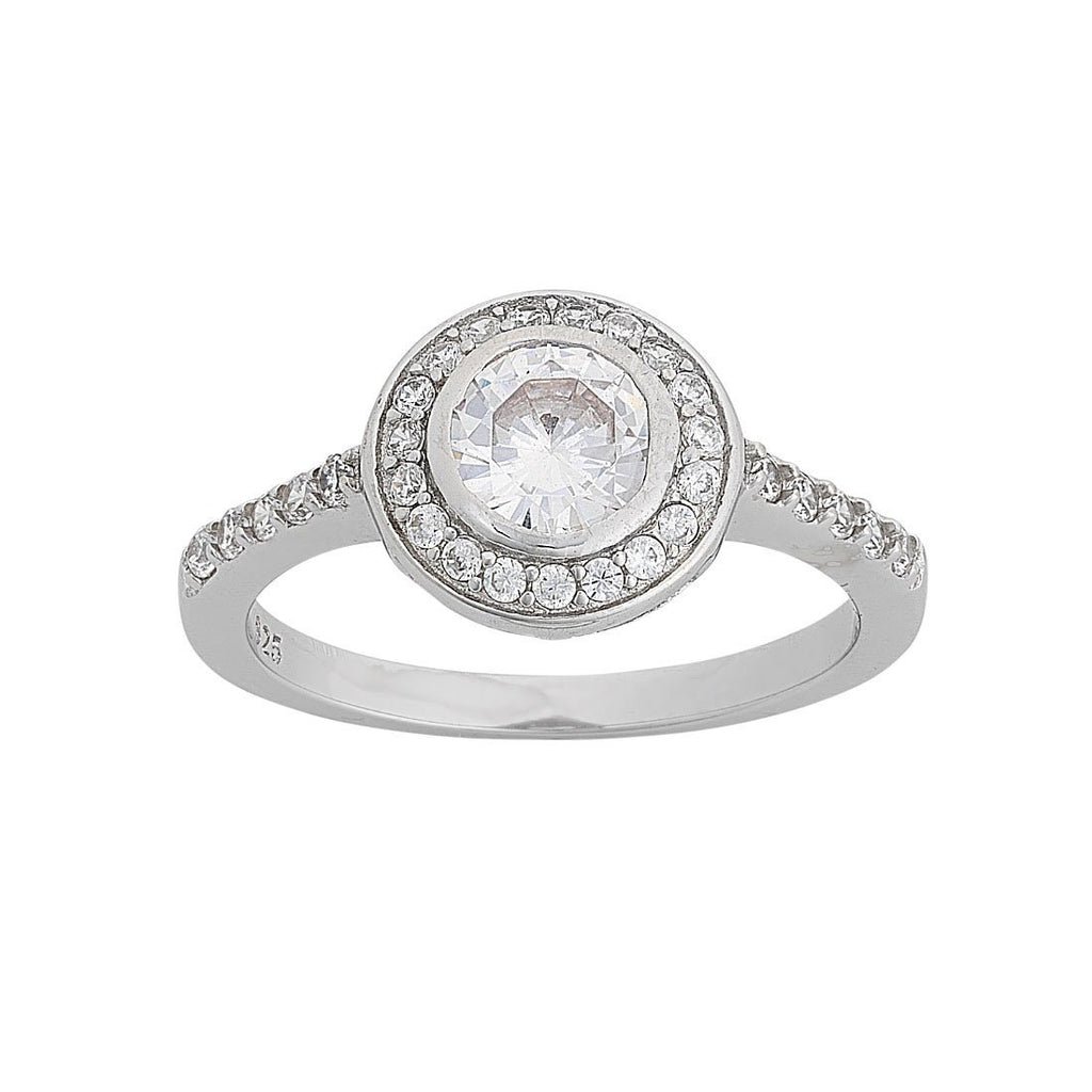 Cubic Zirconia Halo Ring in Sterling Silver Rings Bevilles