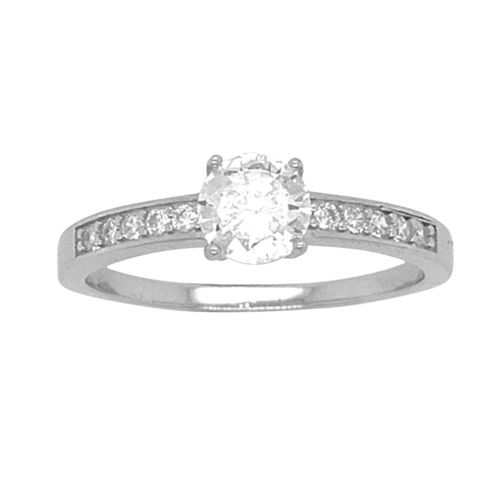 Sterling Silver and Cubic Zirconia Solitaire Studded Channel Setting Band Ring Rings Bevilles