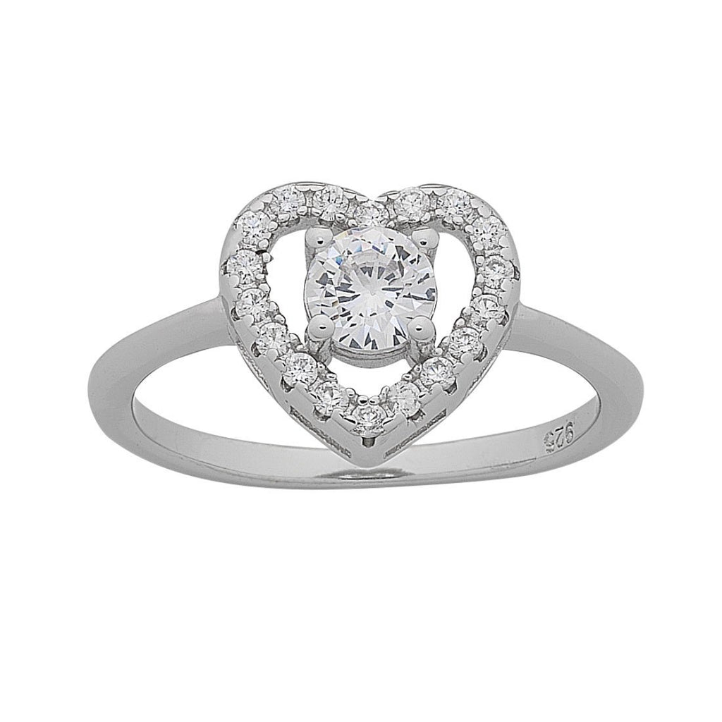 Sterling Silver Cubic Zirconia Heart Ring Rings Bevilles