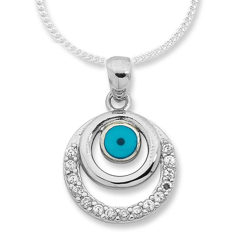 Sterling Silver Evil Eye Curb Necklace