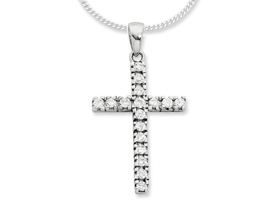 Sterling Silver Cubic Zirconia Cross Necklace Necklaces Bevilles