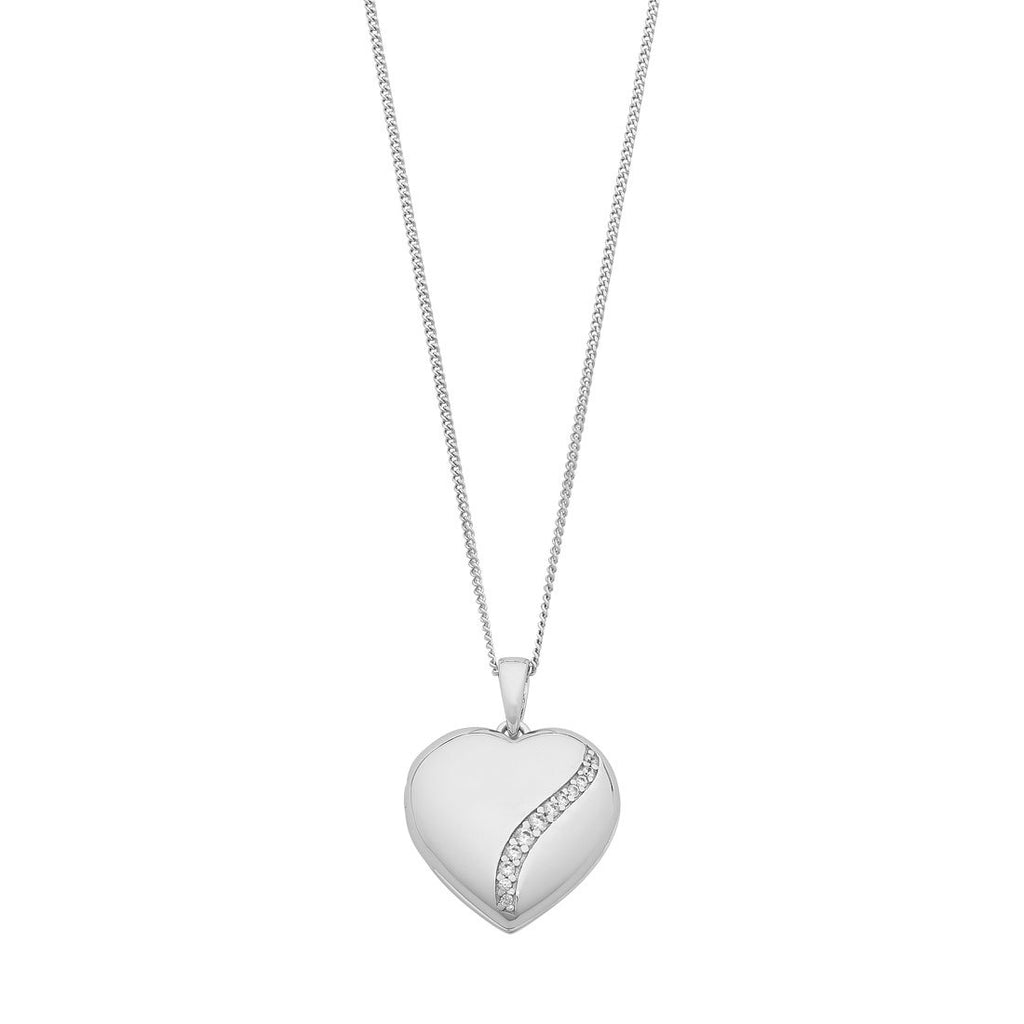 Heart Locket Necklace with Cubic Zirconia detailing in Sterling Silver Necklaces Bevilles