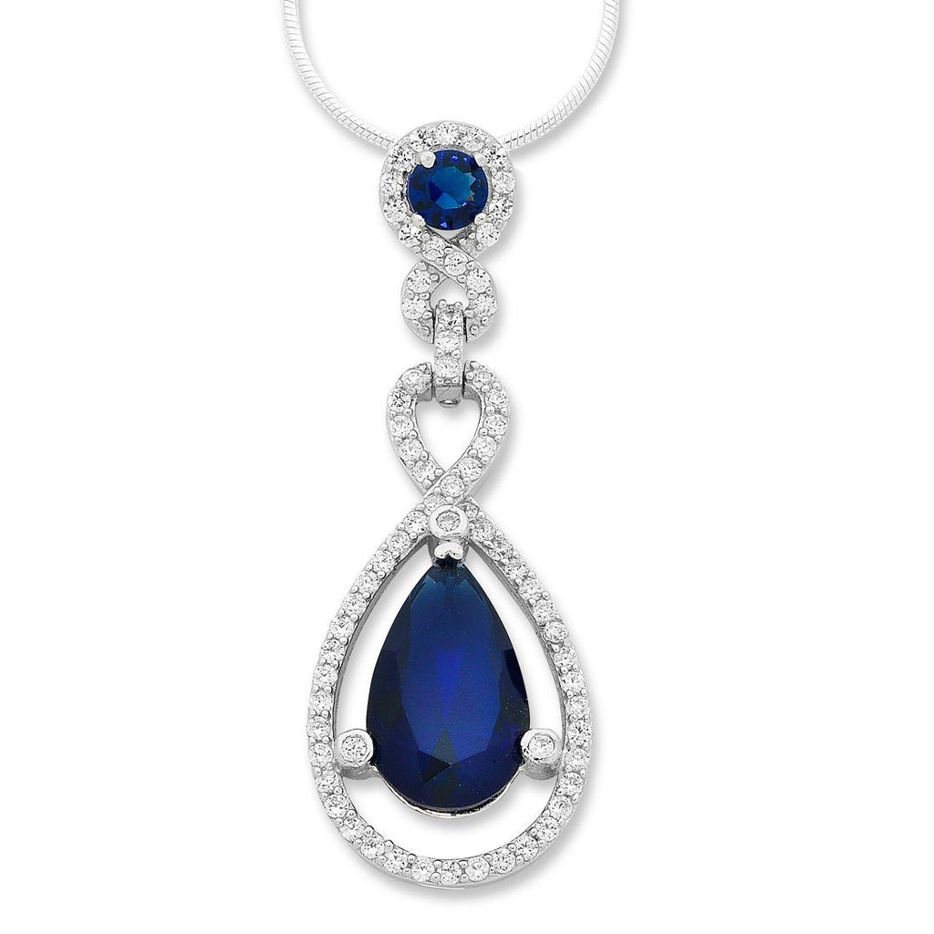 Sterling Silver Blue Cubic Zirconia Pear Necklace Necklaces Bevilles