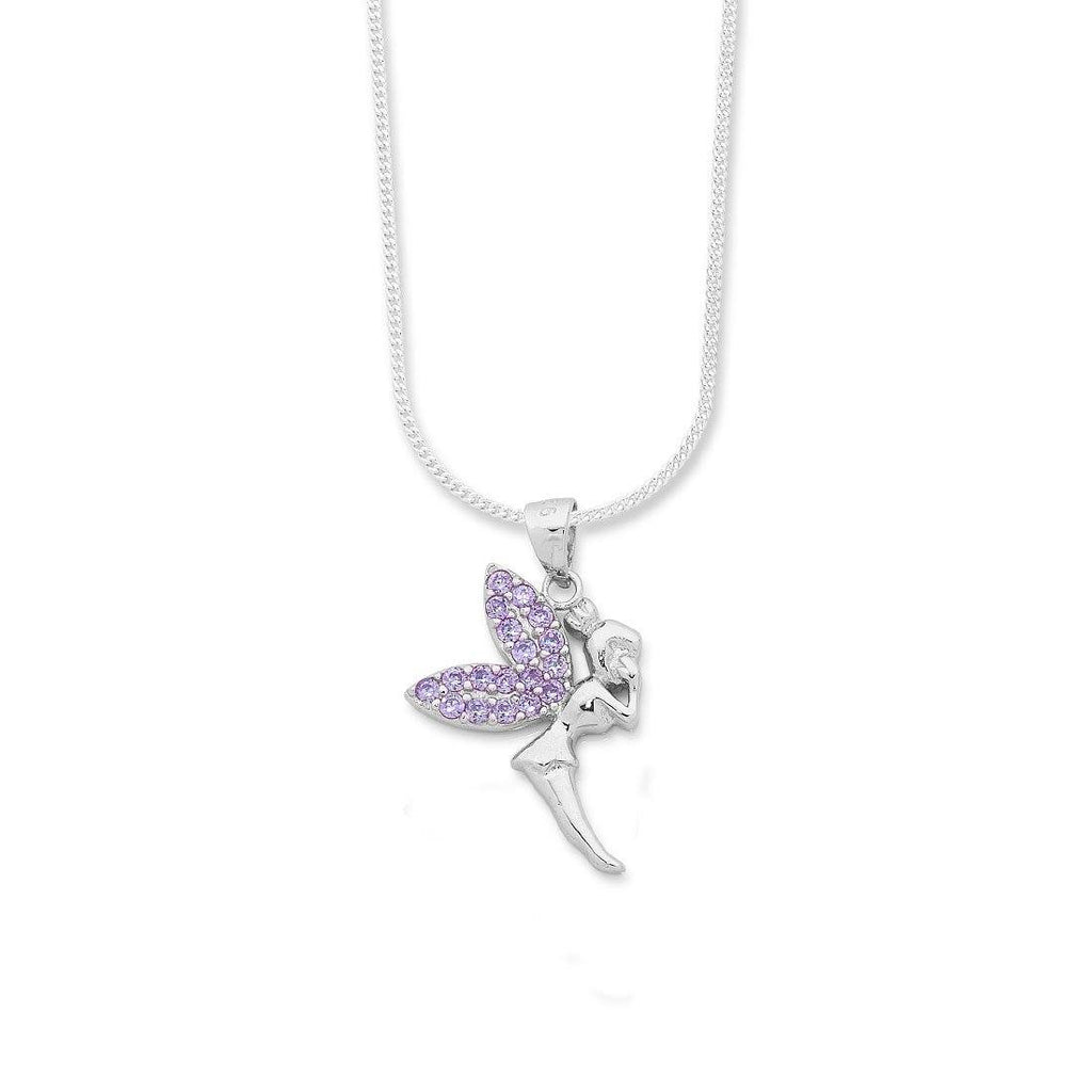 Sterling Silver Cluster Wings Purple Fairy Necklace Necklaces Bevilles