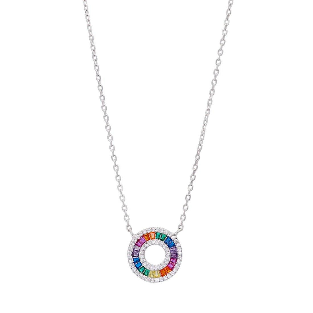 Rainbow Cubic Ziconia Open Circle Necklace in Sterling Silver Necklaces Bevilles