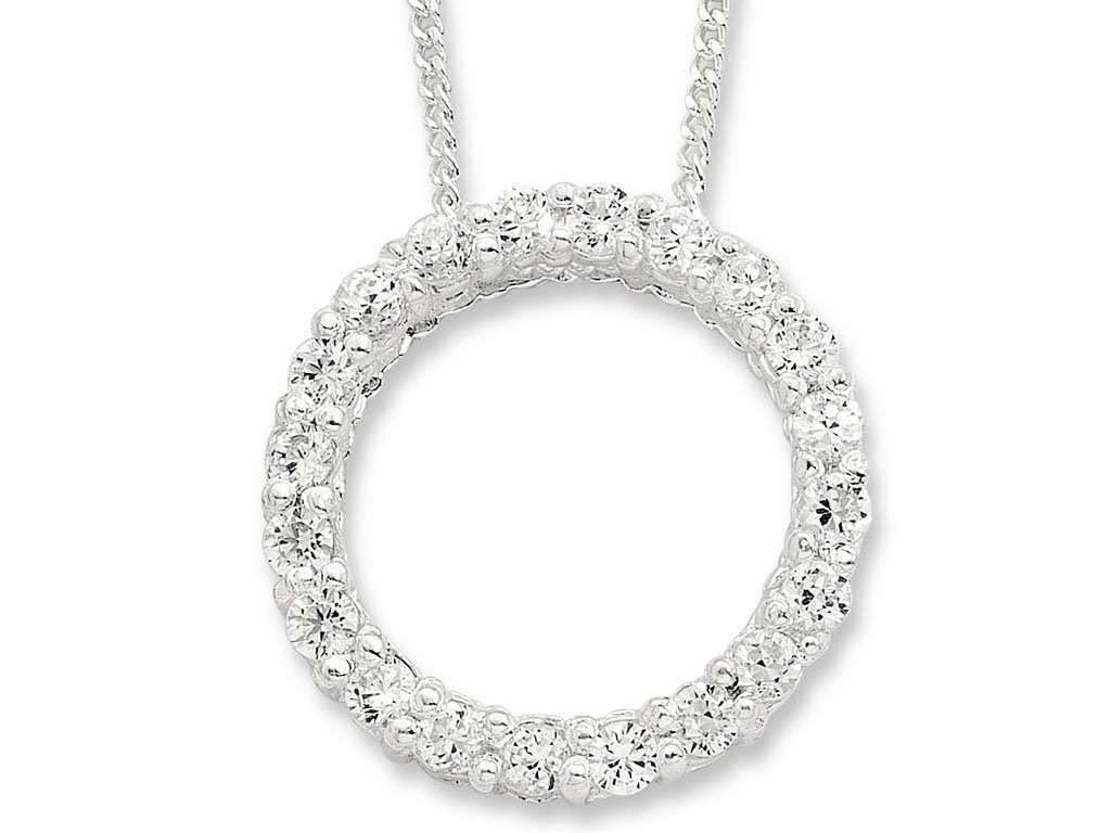Sterling Silver Cubic Zirconia Open Circle Necklace Necklaces Bevilles