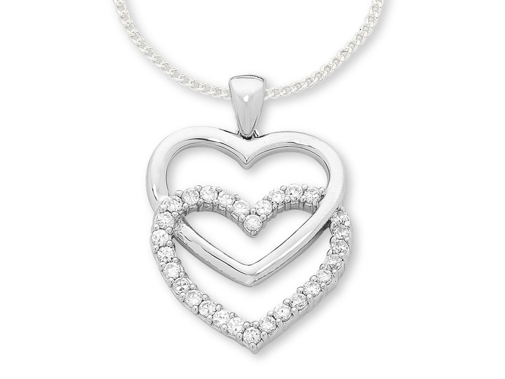 Sterling Silver Heart Drop Necklace Necklaces Bevilles