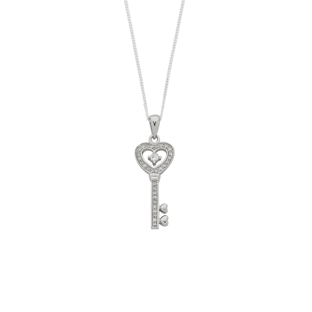 Sterling Silver Cubic Zirconia Pendant Necklace 45cm