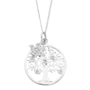 Sterling Silver Tree Of Life Curb Necklace