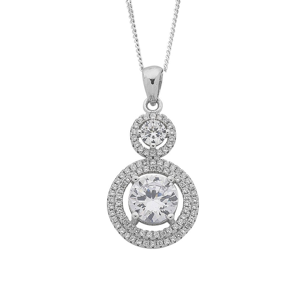 Sterling Silver White Cubic Zirconia Pendant Necklace