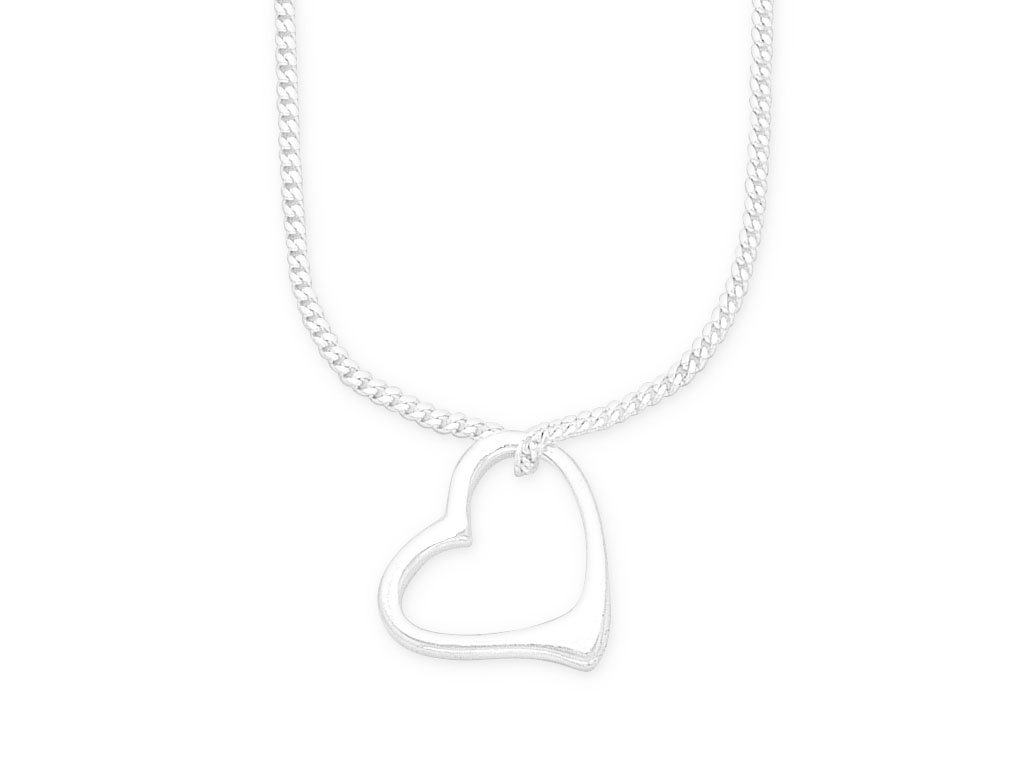 Sterling Silver Open Heart Necklace Necklaces Bevilles