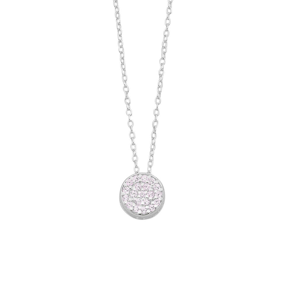 Sterling Silver Pink Cubic Zirconia Pave Disc Necklace Necklaces Bevilles