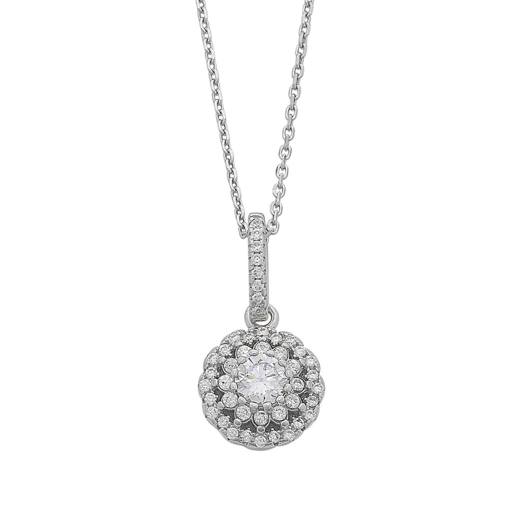 Cubic Zirconia Flower Halo Necklace in Sterling Silver Necklaces Bevilles
