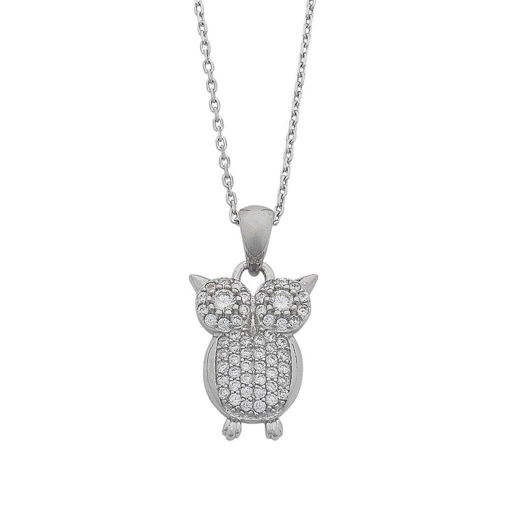 Cubic Zirconia Pave Owl Necklace in Sterling Silver Necklaces Bevilles