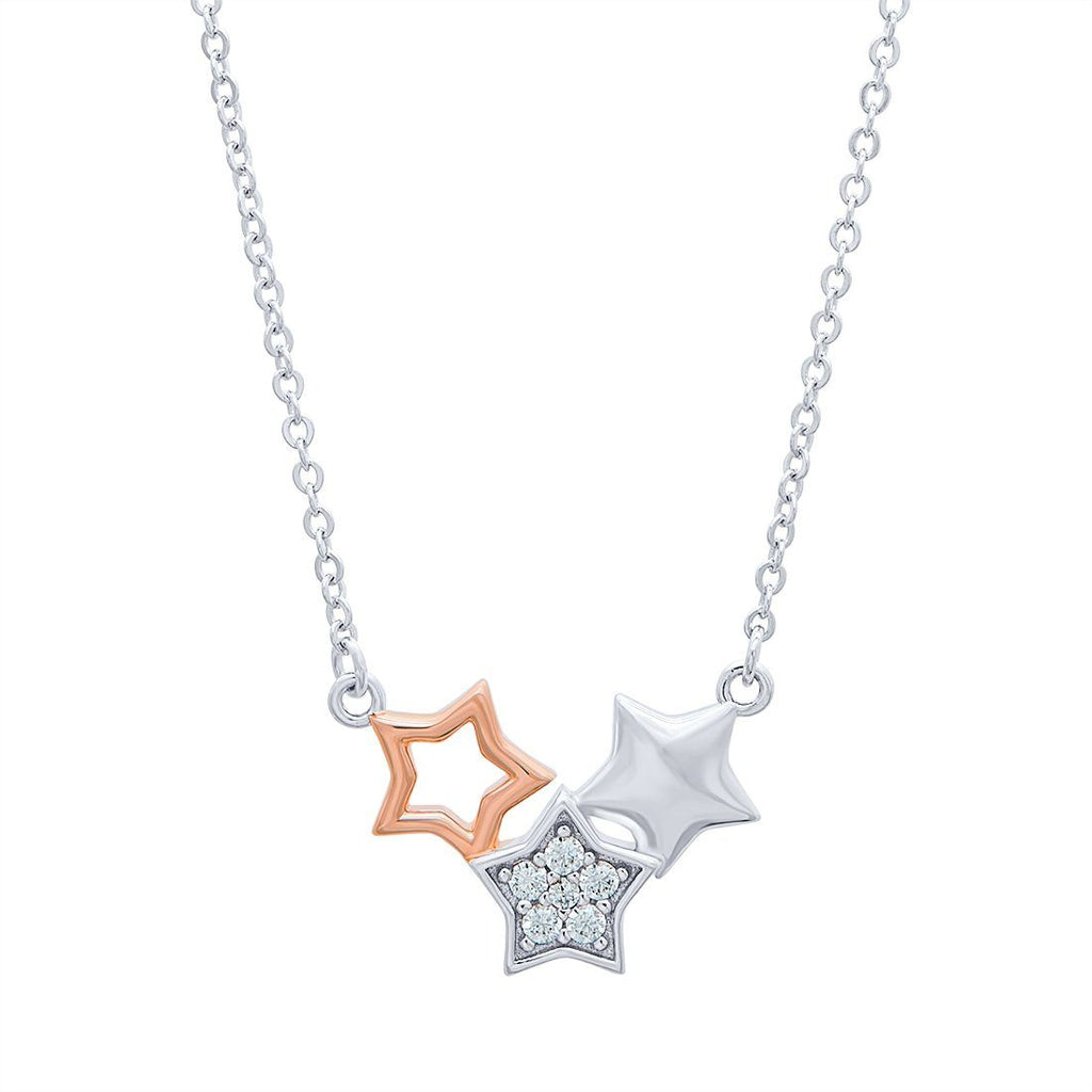 Sterling Silver Three Star Necklace Necklaces Bevilles