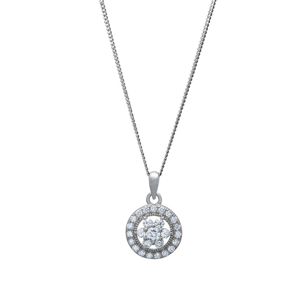 Cubic Zirconia Flower Necklace in Sterling Silver Necklaces Bevilles