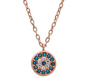 Evil Eye Sterling Silver Necklace with Blue Cubic Zirconia Necklaces Bevilles