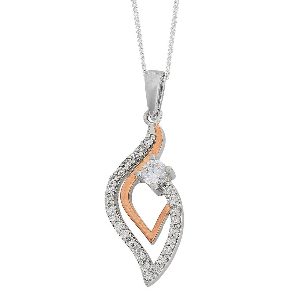 Two Tone Cubic Zirconia Open Marquise Necklace in Sterling Silver Necklaces Bevilles