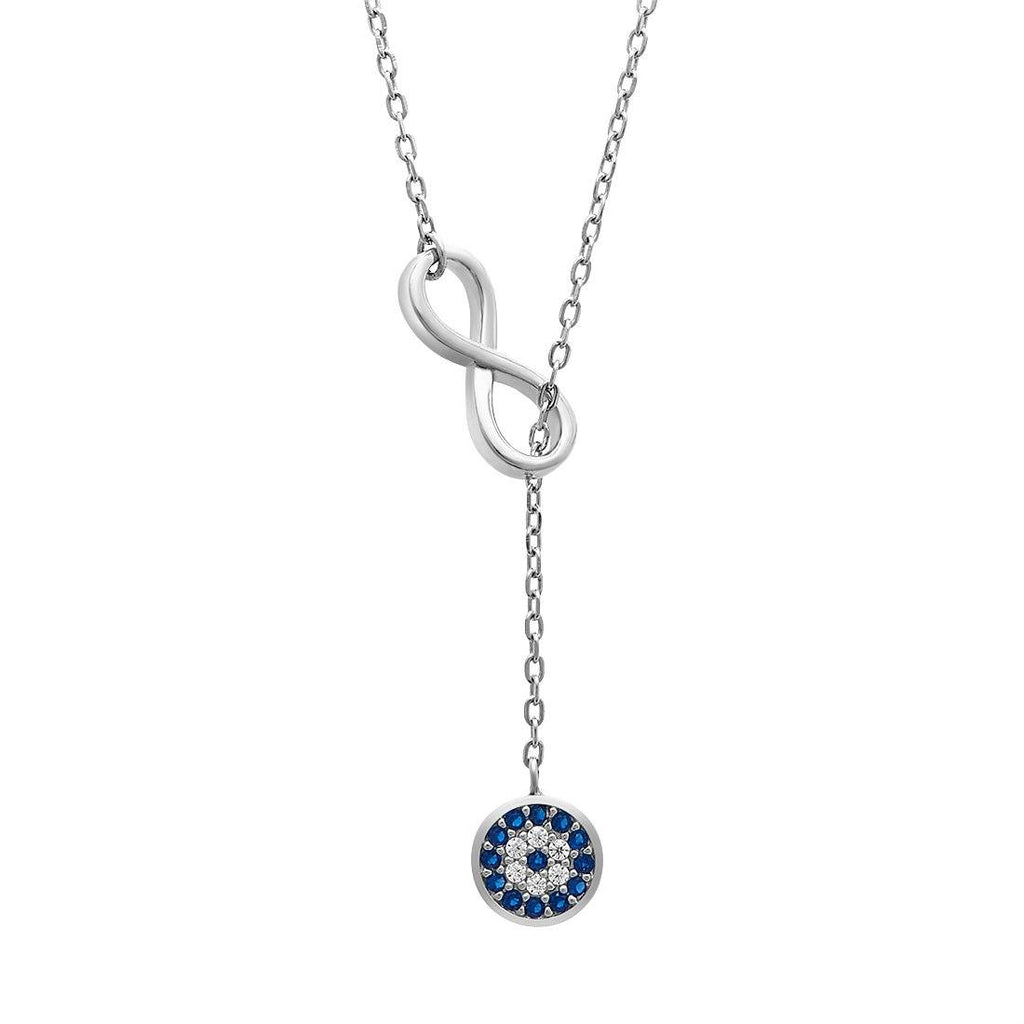 Infinity & Evil Eye Sterling Silver Necklace Necklaces Bevilles
