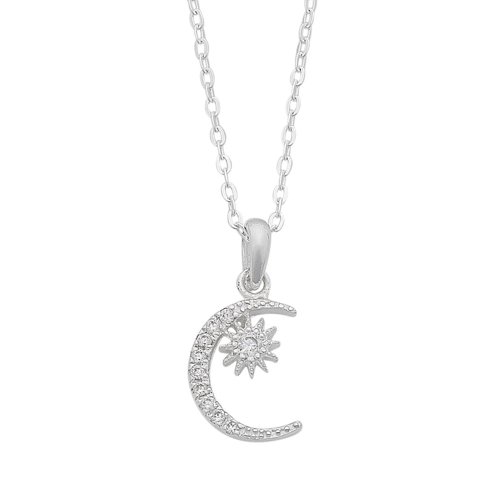 Cubic Zirconia Moon and Sun Necklace in Sterling Silver