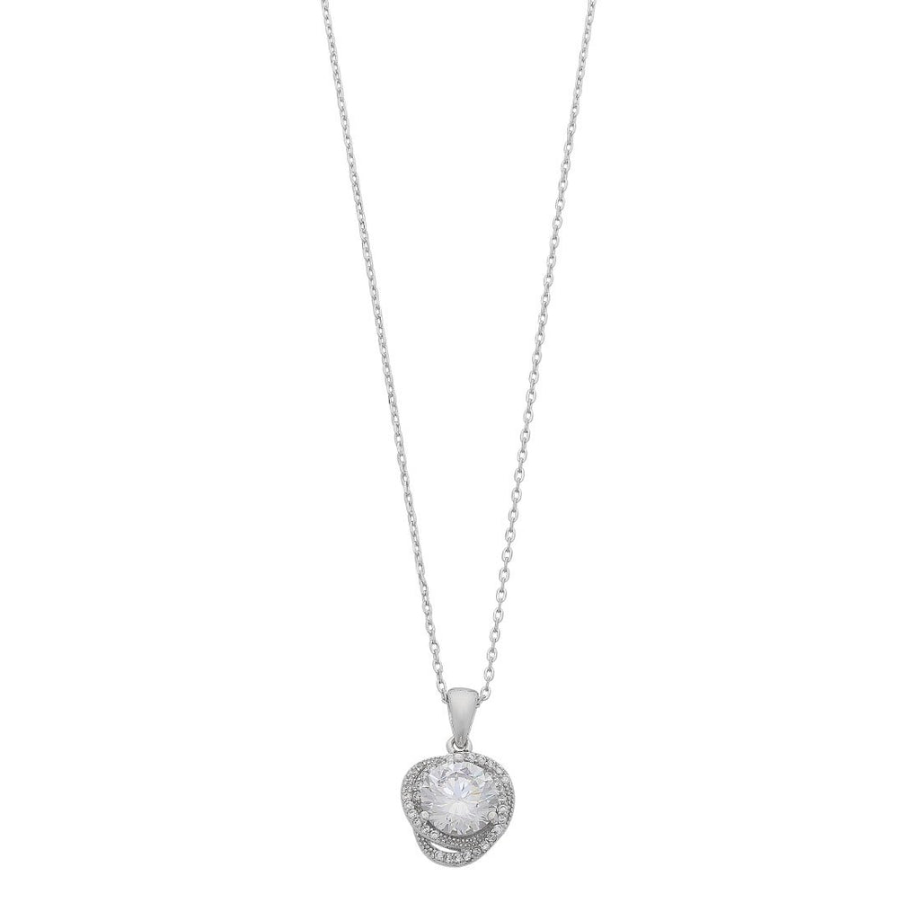 Cubic Zirconia Halo Necklace in Sterling Silver Necklaces Bevilles