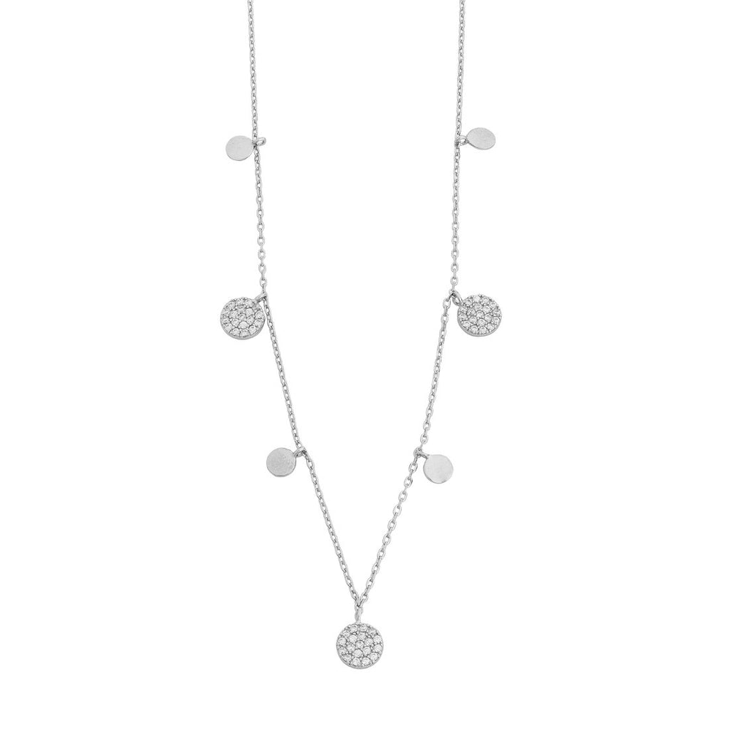 Sterling Silver Plain and Large Cubic Zirconia Pave Disc Charm Necklace