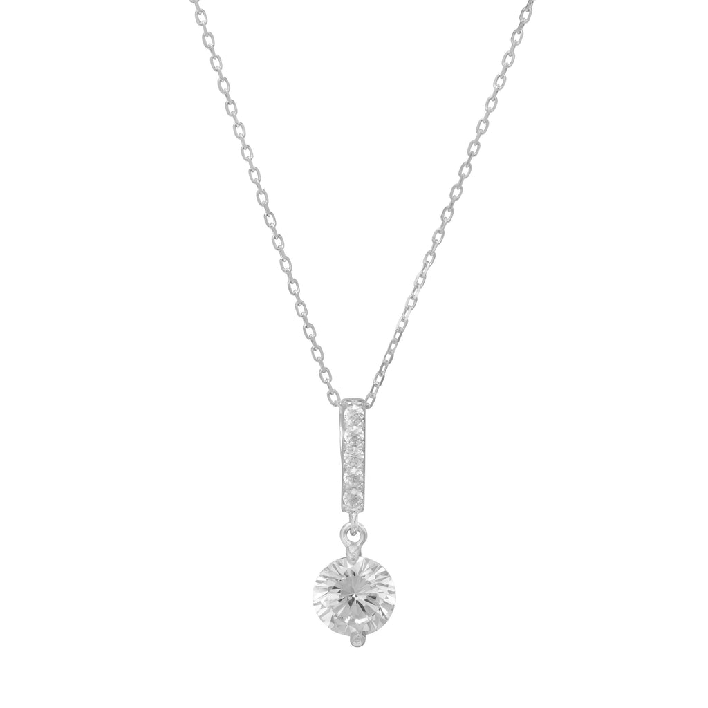 Cubic Zirconia Drop Necklace in Sterling Silver Necklaces Bevilles