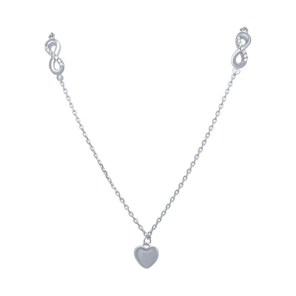 Infinity and Heart Necklace in Sterling Silver Necklaces Bevilles