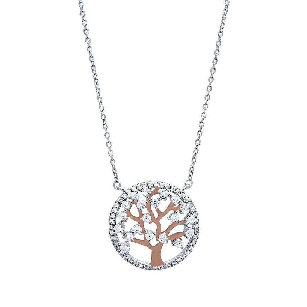 Tree of Life Cubic Zirconia Necklace in Sterling Silver Necklaces Bevilles