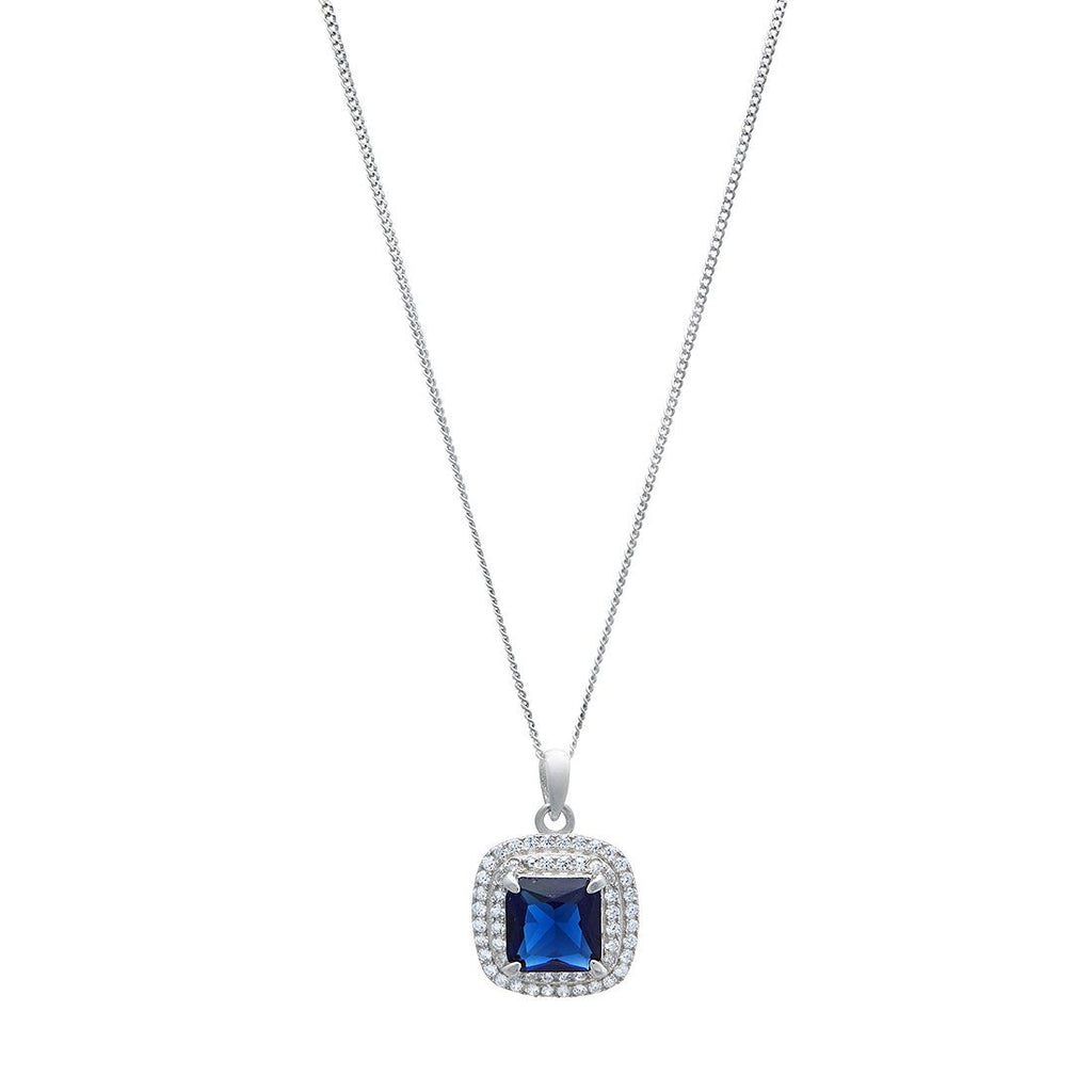 Blue Sapphire Cubic Zirconia Necklace in Sterling Silver Necklaces Bevilles