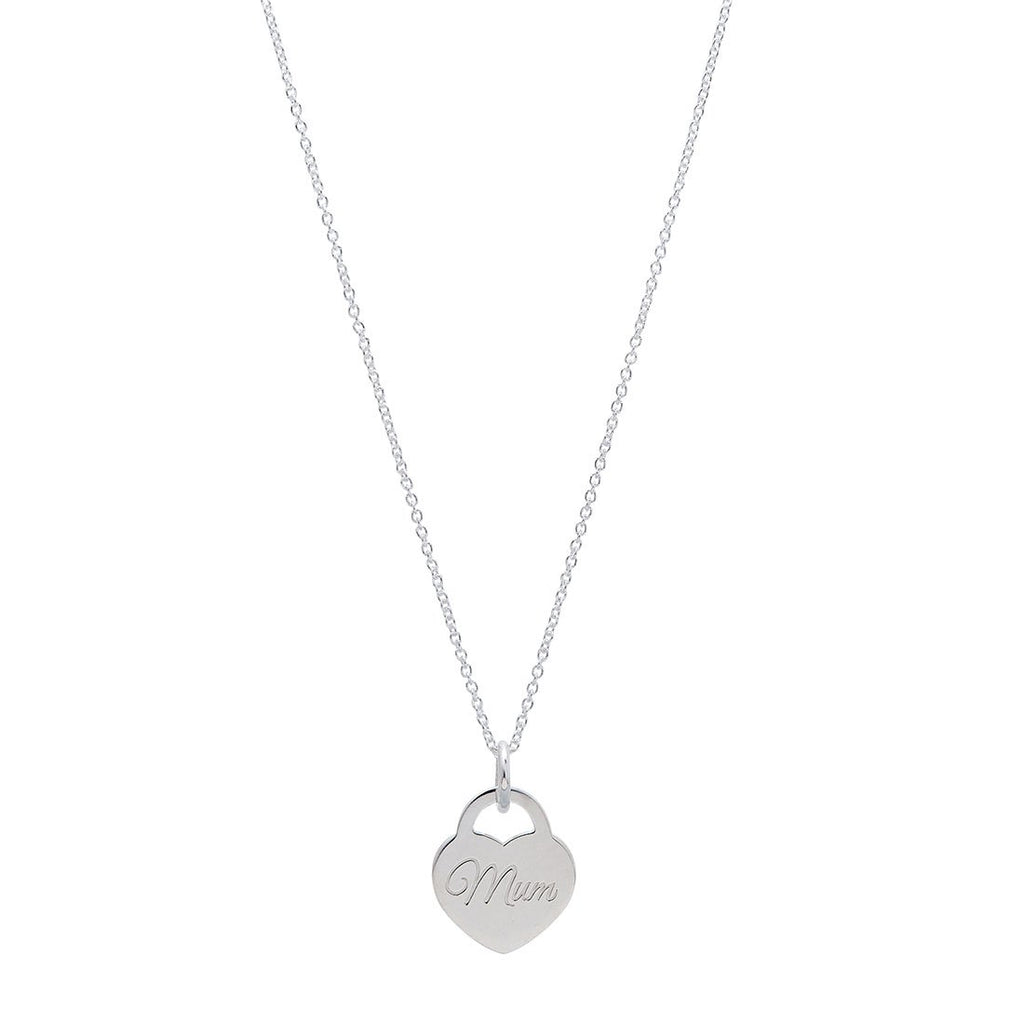 Mum Mini Heart Necklace in Sterling Silver Necklaces Bevilles